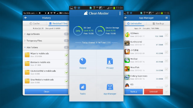 Le interfacce principali di Clean master per Android