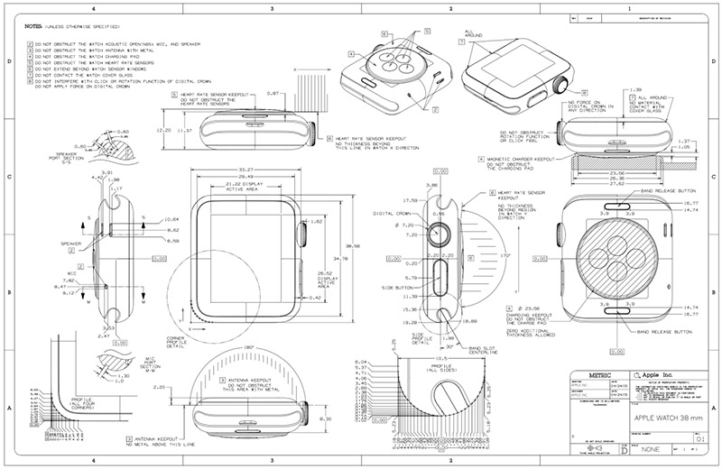 Lo schema tecnico di Apple Watch
